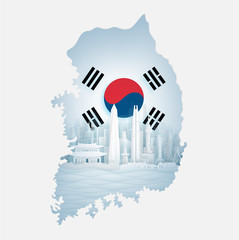 Wall Mural - South Korea flag with map and famous landmarks in paper cut style vector illustration.