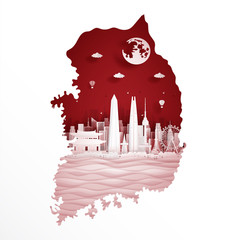 Fototapete - South Korea map with world famous landmark in paper cut style vector illustration