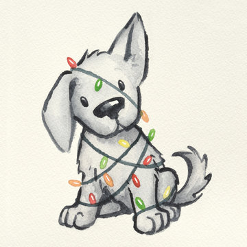 cute puppy dog wrapped in Christmas tree lights, hand painted and drawn watercolor Christmas illustration, funny naughty puppy Christmas card design