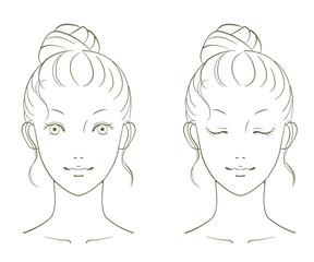 若い女性の美容イメージ 線画01