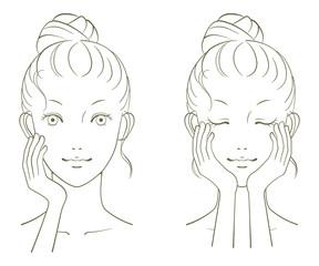 若い女性の美容イメージ 線画02