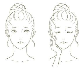 若い女性の美容イメージ 線画03