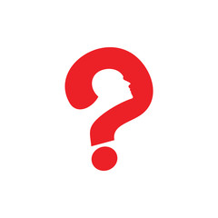 question mark with human face symbol vector