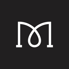 letter m linked curves lines logo vector