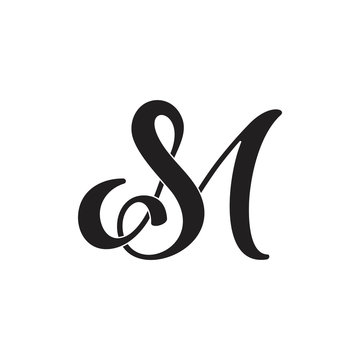 letters sm linked curves logo vector