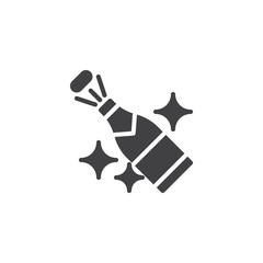 Champagne popping vector icon. filled flat sign for mobile concept and web design. Bottle of champagne explosion simple solid icon. Symbol, logo illustration. Pixel perfect vector graphics