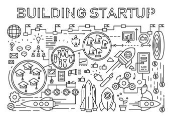 Building Startup Flat Line Design Concept. Startup Elements Doodle Geometric. Line Art Design Style