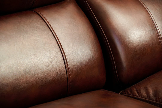 Brown leather couch detail sofa