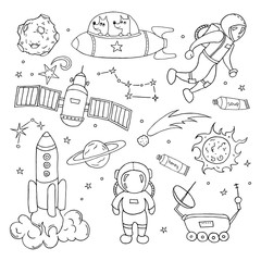 Set of different space objects.