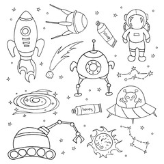Wall Murals Cartoon draw Set of different space objects.