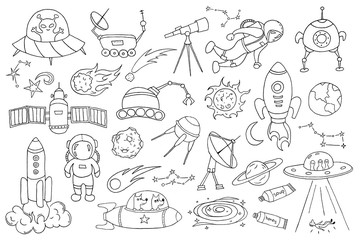 Set of different space objects. Hand drawn sketch.