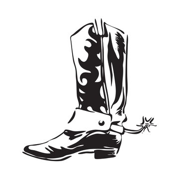 Hand drawn cowboy boot with spur. Wild west leather footwear vector illustration. Black isolated on white background