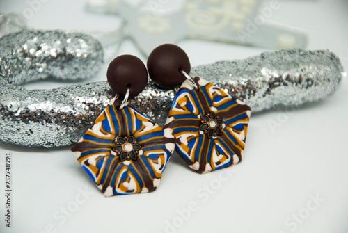 Polymer Clay Christmas Jewelry.Winter Jewelry Decoration Background Handmade Boho Earrings