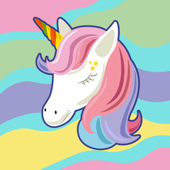 Unicorn cute cartoon in flat style for clothes or as logotype, badge, icon, card, poster, t-shirt, invitation, banner template. Vector illustration. Girl, woman fashion banner, print, design.