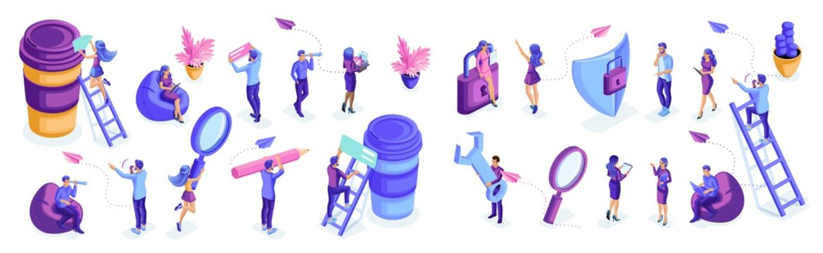 Isometric set of people in motion, work, write, analyze, brainstorm. Isolated characters on a white background. Young people, young entrepreneurs