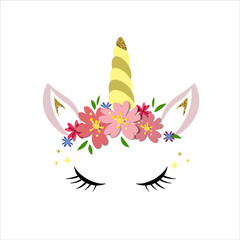Unicorn logo with horn, ears and flowers. Great for badge, card, greeting, baby birthday party, t-shirt, banner, invitation template. Isolated on white background. Vector.