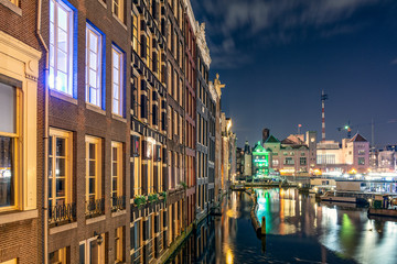 Fotobehang Kanaal Cityscape at Amsterdam, The Netherlands at night