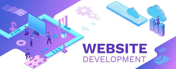 Web development 3d isometric concept, software management vector illustration with developer at conveyor building website, trendy violet background, landing page template