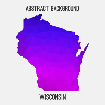 Wisconsin map low poly geometric polygonal,mosaic style,abstract tessellation,modern design background. Geometric cover, mockup. Vector illustration EPS10.