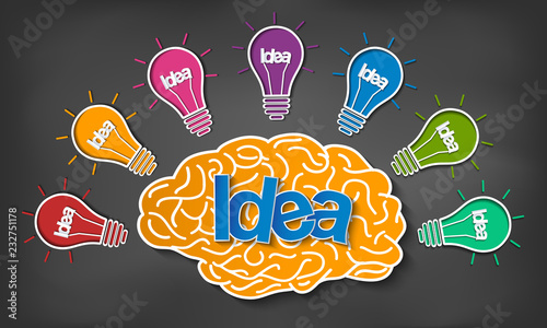 brain icon head with multiple light bulb sparking Many color