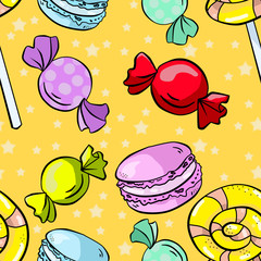Seamless pattern with candies, macarons and lollipop on yellow backgrounds. Wallpaper and fabric design.