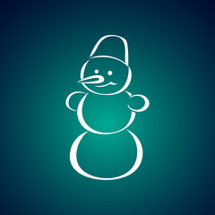 Snowman with bucket on his head. Vector icon.