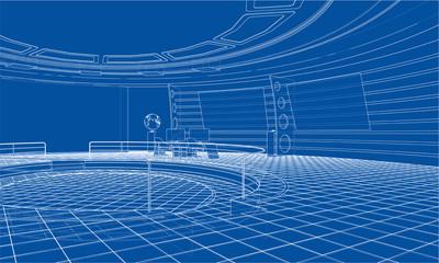 3D outline interior. Vector rendering of 3d