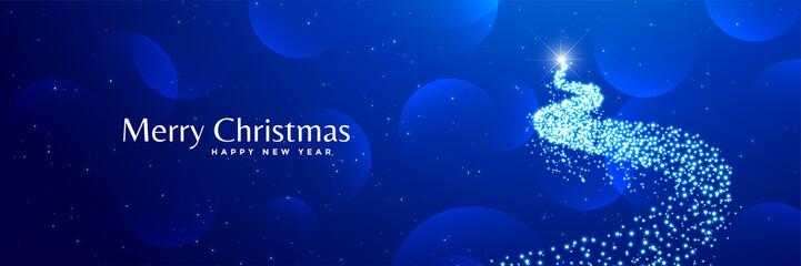 shiny creative christmas tree design blue banner