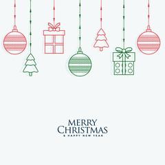 merry christmas decorative elements hanging background