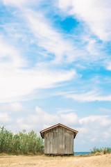 wonderful harmony of clouds, wooden house detail