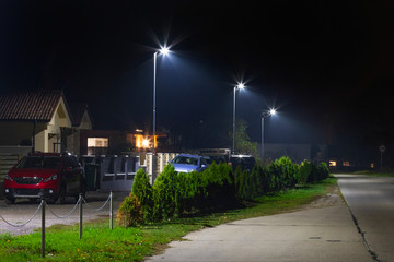 modern residential houses with Led streetlights at night