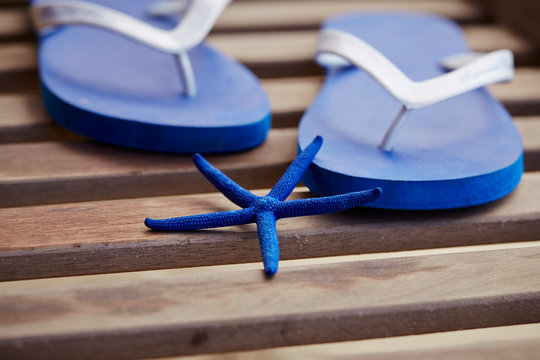 Flip flop with starfish