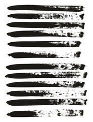 Calligraphy Paint Brush Lines High Detail Abstract Vector Background Set 137