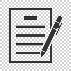 Contract agreement icon in flat style. Document sheet with pen vector illustration on isolated background. Contract arrangement business concept.