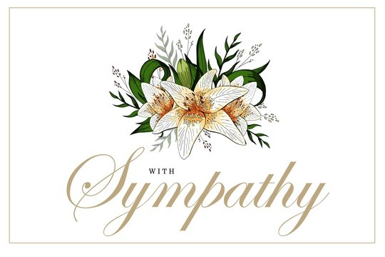 Condolences sympathy card floral lily bouquet and lettering