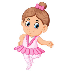 Cute ballerina girl in pink dress dancing