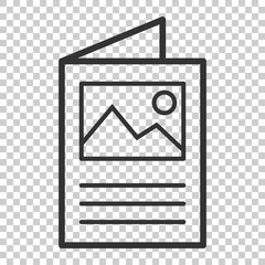 Flyer leaflet icon in flat style. Brochure sheet vector illustration on isolated background. Booklet flyer business concept.