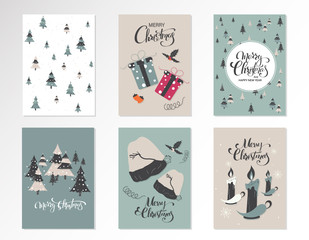 Christmas kraft paper cards and gift tags set, hand drawn style. Vector illustration.