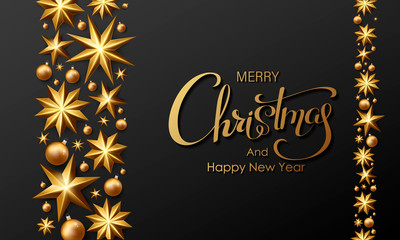 Golden Merry Christmas lettering Background. Calligraphy Inscription Merry Christmas. Vector Stock Illustration.