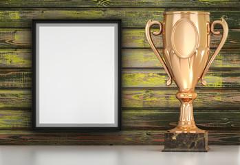 Golden cup om wood background 3d illustration