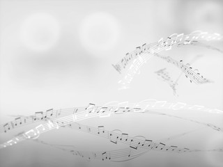 Abstract music notes background texture 3d illustration