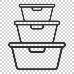 Food container icon in flat style. Kitchen bowl vector illustration on isolated background. Plastic container box business concept.