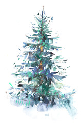 Decorated christmas tree New year Watercolor illustration Water color drawing