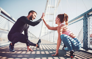 Keuken foto achterwand Fitness Jogging. Young couple enjoys together in the morning training outdoor. Sport, fitness, recreation concept