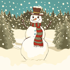 Funny cute snowman, cartoon colorful drawing, vector illustration. Painted snowman with hat and scarf in the winter forest park against the background of spruce trees, snow and falling snowflakes