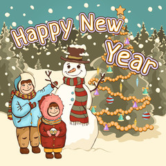 Children make snowman, happy New Year card, poster, cartoon colorful drawing, vector illustration. Cute boy and girl, funny snowman on the background of a decorated spruce tree in the park with snow