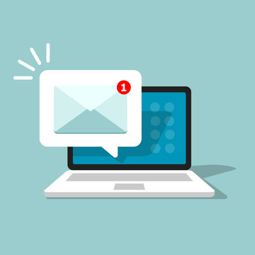 Email alert in laptop. Message on computer screen. Notification vector concept. Vector illustration in flat style.