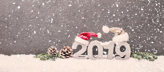 2019 Hintergrund Schneelandschaft Karte Silvester Neues Jahr