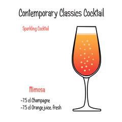 Mimisa alcoholic cocktail vector illustration recipe isolated