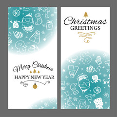 Christmas banners set with design elements in doodle style. With snow frames on white background.